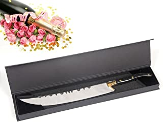 Goetland Luxurious 16-1/2 inches Champagne Saber Opener Sabrage 420 Stainless Steel with Gift Box, Black Wood Handle