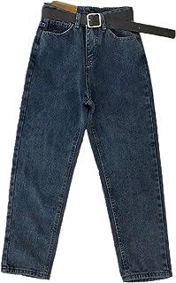 Vintage De Cintura Alta Jeans De Las Mujeres Sólido Recto Pantalones Sueltos Casual Más El Tamaño De Alta Calle Azul Denim...