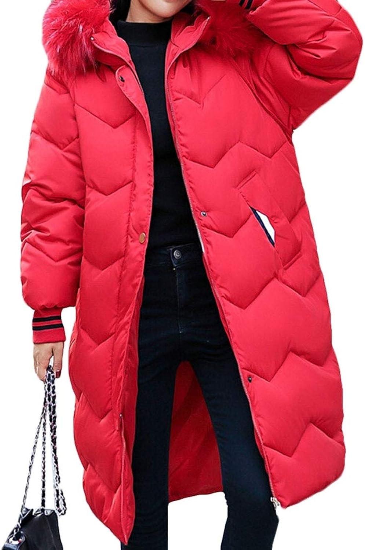 LEISHOP Women's Slim Fit Thicken Long Puffer Faux Fur Hood Jacket Down Coat
