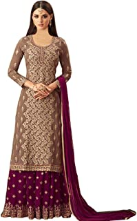 Ruri Enterprise Women's Georgette Embroidered Semi Stitched Salwar Suit With Sharara Bottom