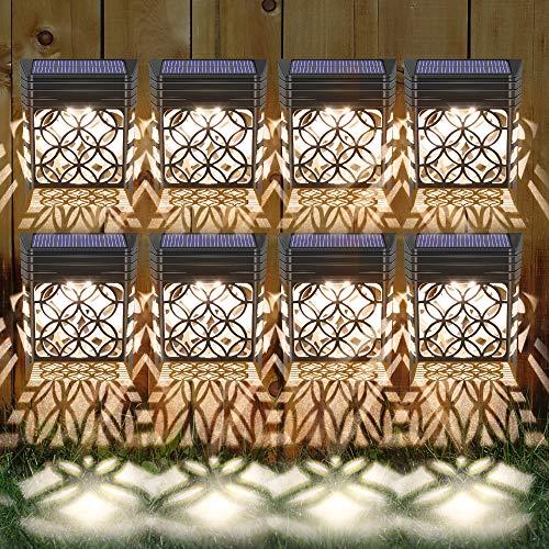 Solarleuchten für Außen, 8 Stück Solar Wandleuchten Garten Wandleuchte Aussen Solarlicht Garten mit Hohlem Design Solarleuchte Wand Wasserdichte Solarlampen für Garten Deko für Zaun, Einfahrt, Garage