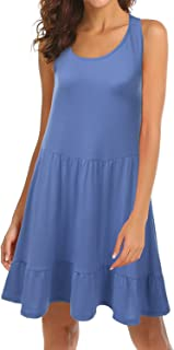 Womens Loose Fit Sleeveless Ruffle Hem Dress with Plus Size (Made in USA)