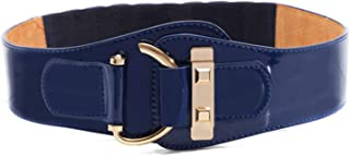 LUKEEXIN Ms Winter All-Match Ladies Leather Wide Elastic Waistband Belt Buckle Female Belt (Color : Blue)