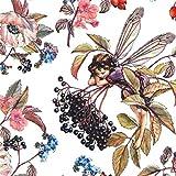 Weißer Stoff mit Holunderblüten und Feen von Michael