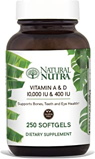 Natural Nutra Vitamin A and D, Sourced from Cod Liver Oil, 10,000IU/400IU, Supplement for Healthy Bones, Teeth and Eyes, 250 Softgels