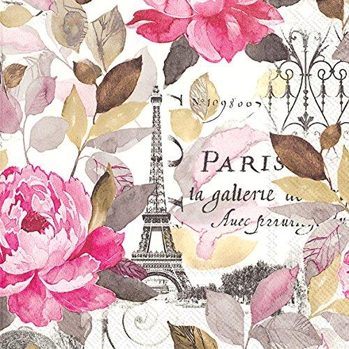 Ideal Home Range C729155 - Confezione da 20 tovaglioli floreali da cocktail 3 veli con motivo Parigi e fiori (25 x 25 cm) - Jardin Paris