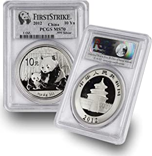2012 CN 1 oz Chinese Silver Panda Coin 10Yn MS70 PCGS First Strike