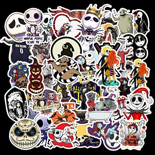 XXCKA 50 Novias Zombis y Noche de Miedo navideña Tema de Halloween Vacaciones Impermeable Maleta extraíble Pegatinas de Graffiti