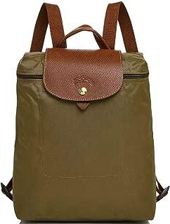 Longchamp 'Le Pliage' Nylon and Leather Backpack, Kaki