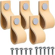 """Beslag Design - 5 stuks leren handvat lus """"Loop"""" leer natuur knop chroom - BxHxD: 25x65x25 mm - Trekgreep leren trekker ha..."""