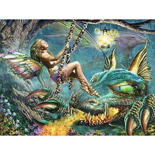 QRKJ Rompecabezas de Madera Rompecabezas de 5000 Piezas para Adultos Rompecabezas para niños Juego Creativo Rompecabezas Juguetes Regalo Columpio Mujer y dragón Volador