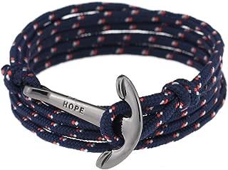 lauhonmin Men Adjustable Nautical Anchor Wrap Cuff Bracelets Twining Weave Nylon Rope Punk DIY Sailing
