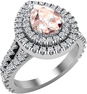 Pear Cut Pink Morganite Double Halo Engagement Ring 14K Gold (I, I1)