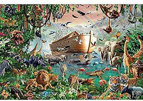 KELDOG® Noah's Ark en dieren puzzel, 1000 stukjes houten puzzels, volwassen decompressiepuzzel, puzzelspeelgoed, voor kinderen Geschenken
