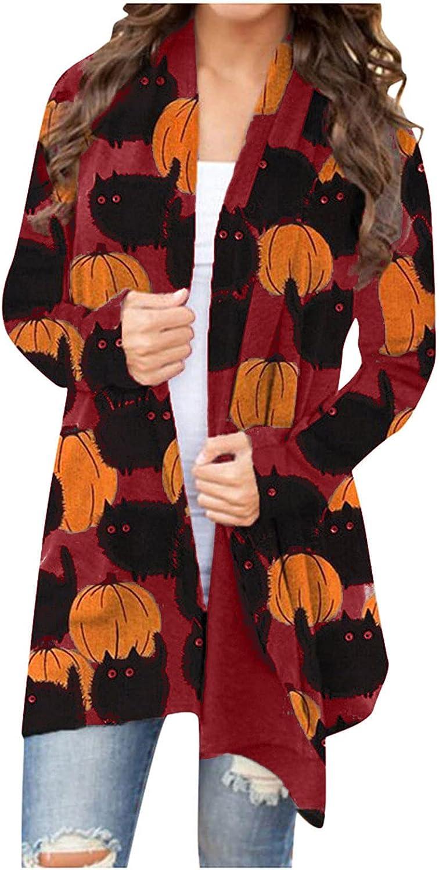 Women Fall Yellow Halloween Cardigan, Long Chunky Lightweight Plus Size Open Front Kimono Fleece Knit Sweater Outwear