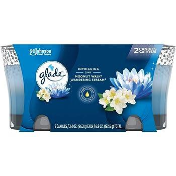 Glade 2in1 Jar Candle Air Freshener, Moonlit Walk & Wandering Stream, 2 candles, 6.8 oz