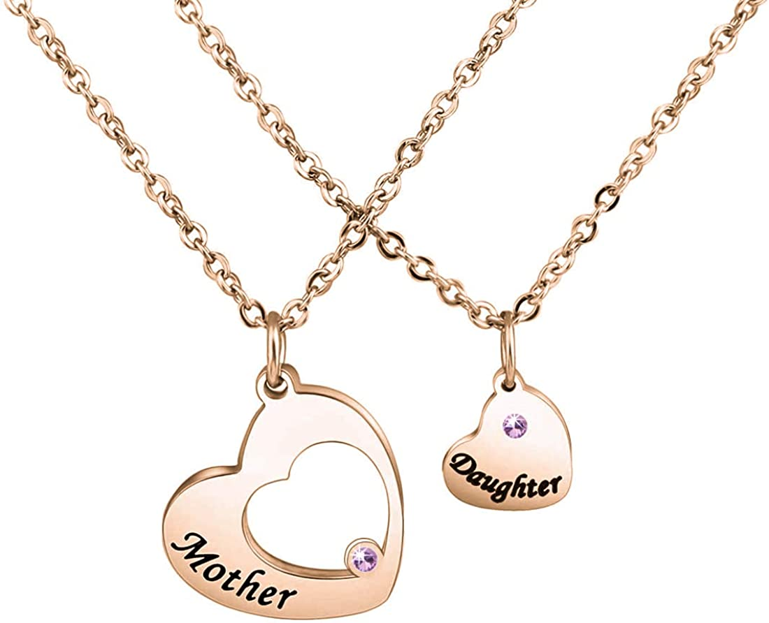 Zuo Bao Mother Daughter Necklace Mommy and Me Matching Heart Necklace