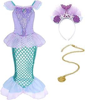 HenzWorld Girls Mermaid Costume Dress Princess Birthday Party Cosplay Outfit Ruffle Fish Tail Headband Jewelry Accessories