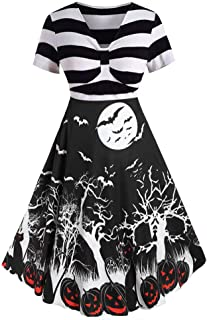 Dunacifa Women Vintage Long Sleeve Dresses for Halloween Housewife Evening Party Prom Dress