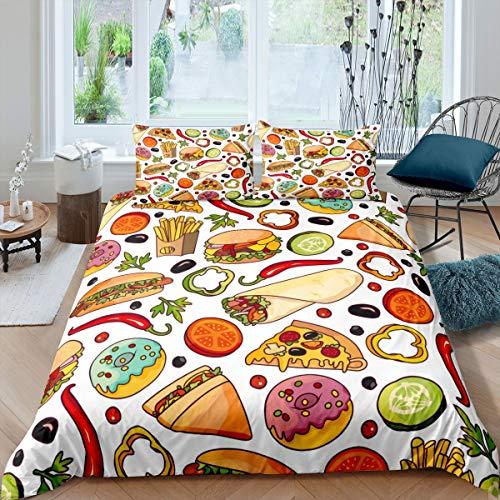 Tbrand Funda de edredón para niños con Hamburguesas y donas para Pizza,Juego de para niños y niñas,Delicioso Tema de Comida rápida,Ultra Suave y Linda de Alimentos de Lindos con Cremallera King
