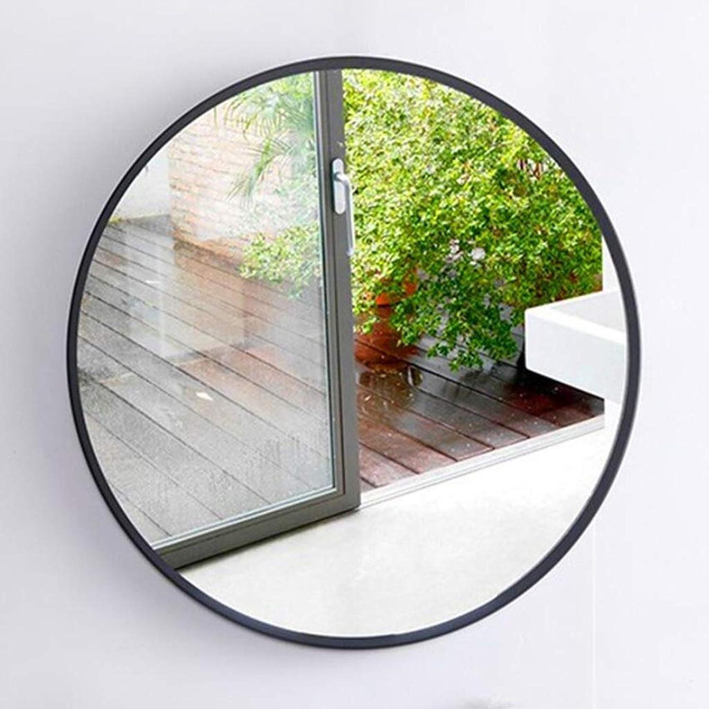 XIUXIU Mirror Home Simple Solid color Bathroom Vanity Mirror Round Living Room Background Decorative Mirror Dressing Mirror (color   Black, Size   40cm)