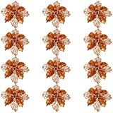 Artibetter - Lote de 12 flores artificiales para decoración navideña con lentejuelas y flores artificiales de boda y árbol de Navidad (bronce)
