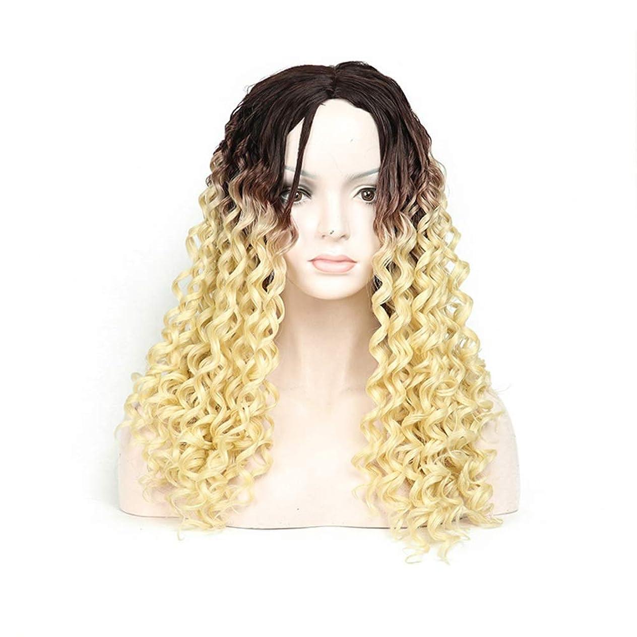 以来ぎこちない前部BOBIDYEE 613#美容女性のファッション黒のグラデーションブロンドの髪の長い巻き毛のかつら毎日のドレスパーティーのかつら (Color : Blonde)