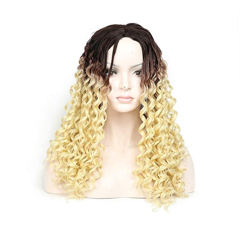 ワイン丈夫銃HOHYLLYA 613#美容女性のファッション黒のグラデーションブロンドの髪の長い巻き毛のかつら毎日のドレスパーティーのかつら (色 : Blonde)