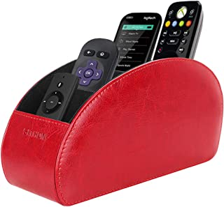 SITHON Remote Control Holder with 5 Compartments - PU Leather Remote Caddy Desktop Organizer Store TV, DVD, Blu-Ray, Media Player, Heater Controllers, Red