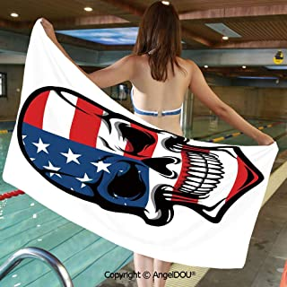 AngelDOU Printed Bath Sport Travel Beach Towels Scary Skull Horror USA Dead Native of The Country States Evil Art Print Decorative Men Women Shower Towels.W27.5xL55(inch)