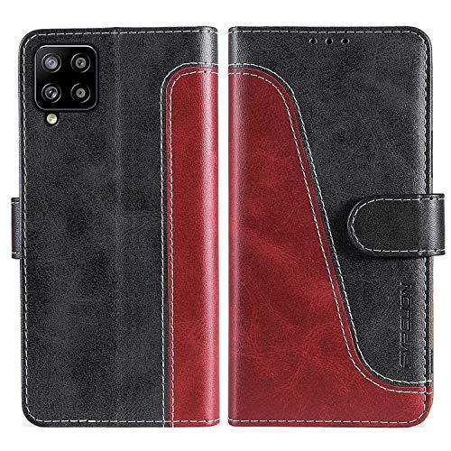FMPCUON Handyhülle für Samsung Galaxy A42 5G Hülle Leder,Premium Klapphülle Handytasche Flip Hülle Handy Hüllen Schutzhülle für Samsung Galaxy A42 5G,Rot/Schwarz