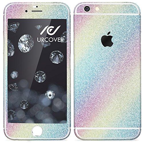 Urcover® Glitzer-Folie zum Aufkleben kompatibel mit Apple iPhone 7 Plus Folie in Rainbow | Zubehör Glitzerhülle Handyskin Diamond Funkeln Schutzfolie Handy-Schutz Bling Glamourös