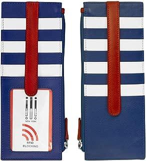 ili 7800 Genuine leather card holder with zip pocket (Nautical)