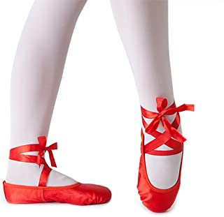 Classic Ballet Slippers Satin Performa Dance Flats with Ribbon for Girls (Toddler/Little Kid/Big Kid)