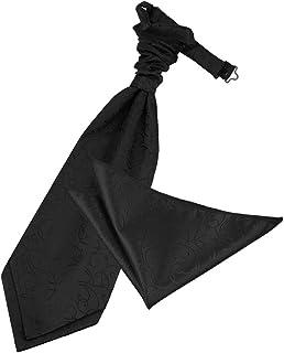 Homme Bleu Royal noir or motif géométrique coton Ascot CRAVAT /& Poche Carré