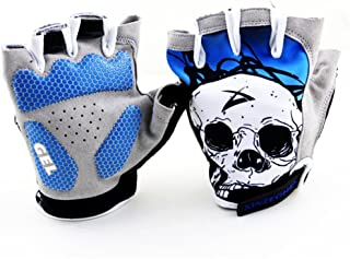 Xinzechen Cycling Half Finger Gloves Shockproof Skull Head