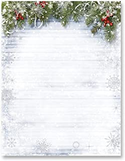 Silver Foil Snowy Sentiment Border Papers, 8.5 x 11, 100 Count