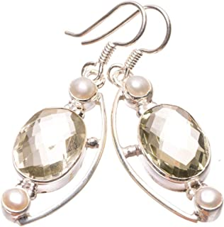 Natural Green Amethyst and River Pearl Punk Style 925 Sterling Silver Earrings 1 3/4