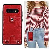 Oihxse Case en Cordon Compatible pour Samsung Galaxy Note 9 Coque Cuir PU Ultra Mince Protection Sangle Dragonne Collier Lanyard Réglable Détachable avec 1 Emplacements Etui-Rouge