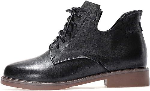 ZHRUI Martin bottes Femme Chaussures à Lacets en Cuir Noir (Couleuré   Noir, Taille   EU 36)