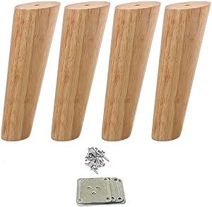 Mysummer 4PCS Wooden Furniture Feet Tapered Sofa Legs Solid Wood Furniture Legs 7inch