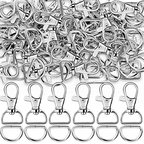 Teenitor Swivel Snap Hooks, 40Pcs Large Size Keychain Hooks (25mm in ID, 38.5mm in Length) and 40pcs D Rings for Lanyard and Sewing Projects (25mm in Inside and 3mm in Thickness)