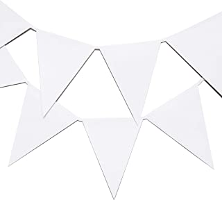 Bright Creations White Paper Pennant Bunting Banner with 10 Flags for DIY Crafts, 11 Feet
