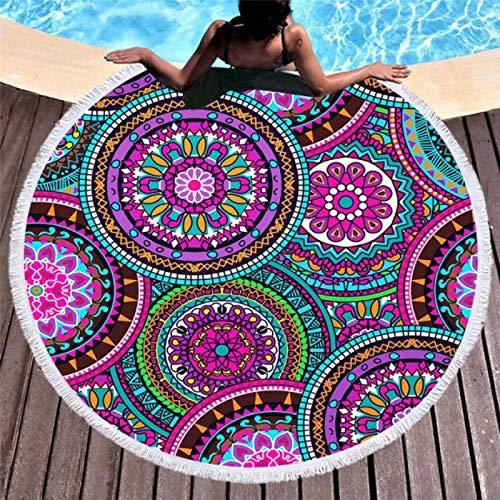 GermYan Toallas de Playa Redondas de Verano Patrón de Mandala geométrico Toalla de Ducha de baño Yoga Picnic Círculo Mat Bikini Cover Up