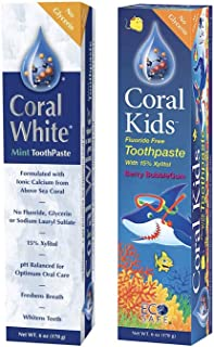 Coral White Natural Fluoride SLS Free Toothpaste, Flavor Bundle Berry Bubble-Gum and Mint,Flavor Natural Safe Remineralizing Toothpaste - 1 Mint 1 Bubble Berry 6 Ounce