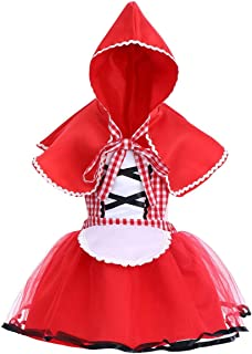 Baby Girls Deluxe Little Red Riding Hood Costume Halloween Cosplay Outfit Cape Cloak Storybook Fairy Tale Fancy Dress Up