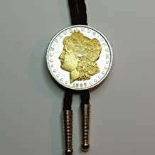 Old 1800's U.S. Silver dollar Gorgeously 2-Toned (Uniquely Hand done) Gold on Silver (with Gold Dates) coin Bolo Ties for Men for women for boys for kids