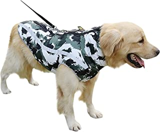 Fosspet Mascota Perro Ropa de Invierno Abrigo de Camuflaje, Reflectante - Cachorro Chaleco Motocicleta Caliente Traje para Perro Pequeño/Mediano/Grande
