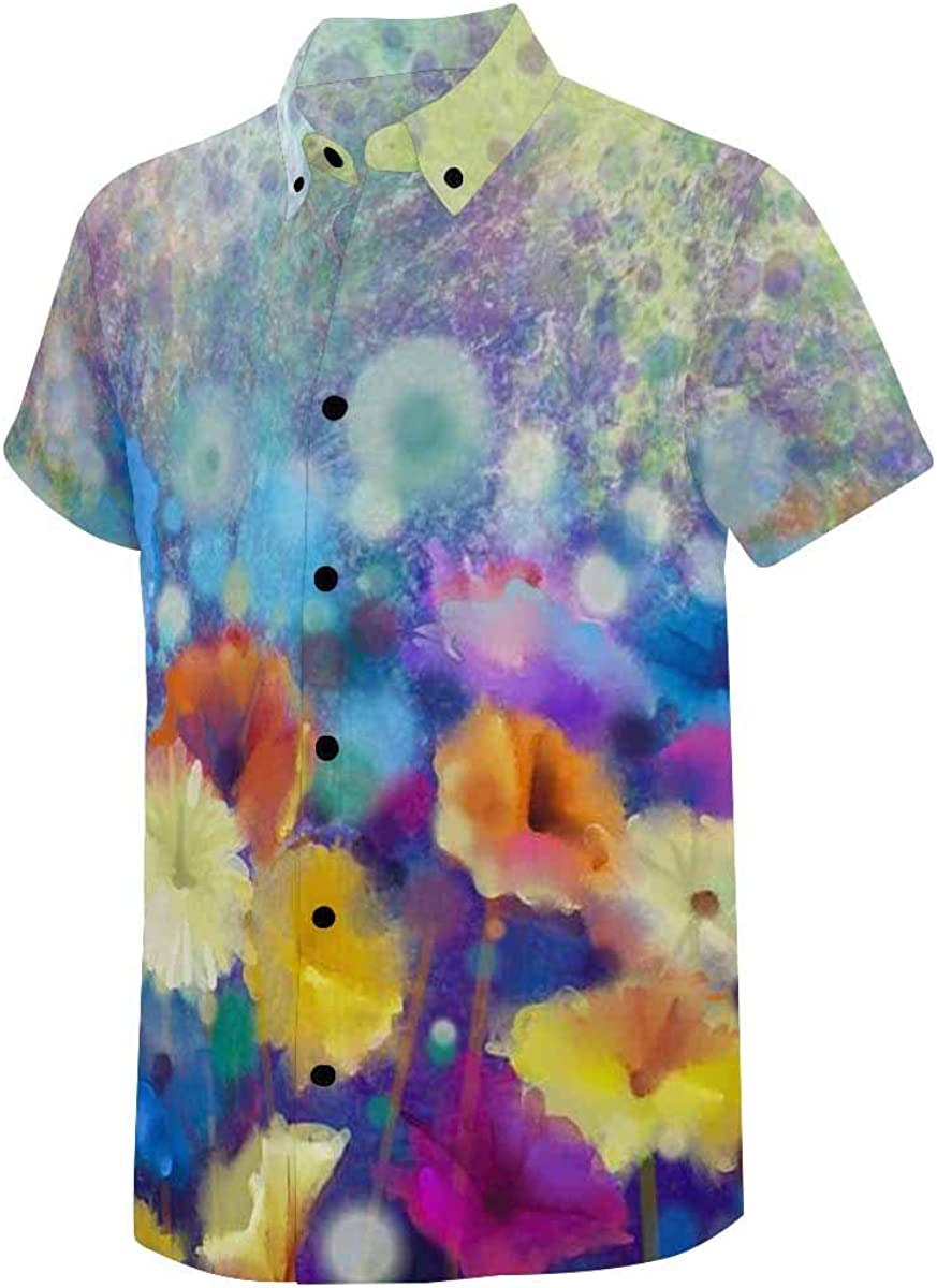 INTERESTPRINT Men's Short Sleeve Shirt Classic Fit Shirt Button-up Design Pink and Red Color of Daisy Gerbera Flowers