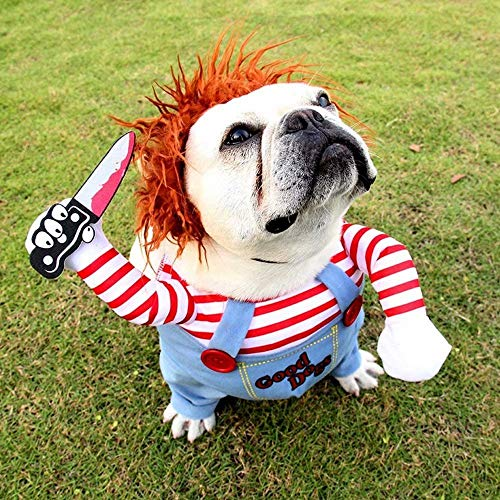 JUZIPS Ropa de perro de muñeca mortal, disfraz de mascotas aterradoras para Halloween Cosplay muñeca Chucky, con un sombrero peludo, ropa divertida para fiestas de Halloween y Navidad.